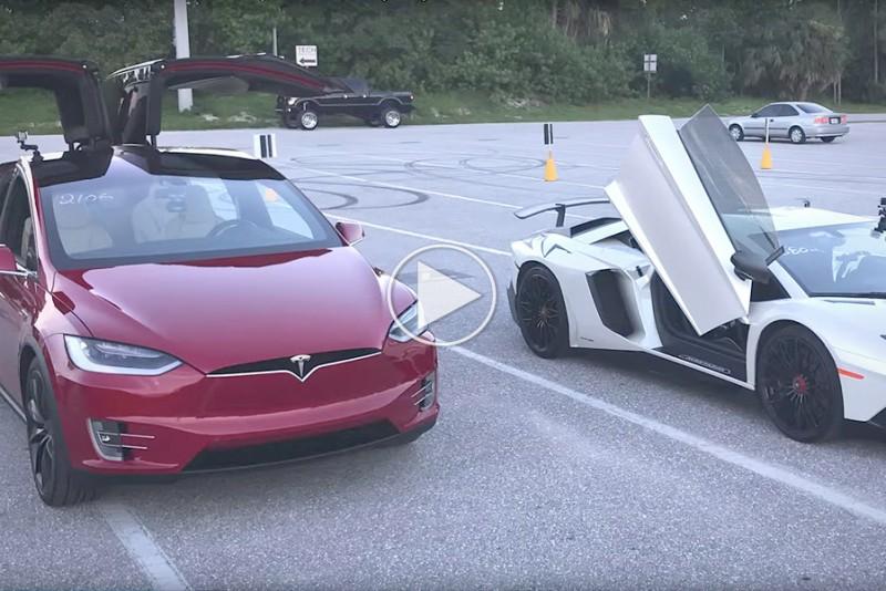 Se en Tesla Model X udmyge en Lamborghini Aventador
