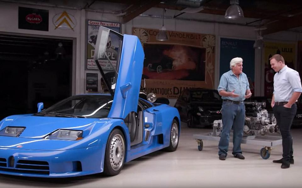 Danske Steffan besøger Jay Leno med sin blærede Bugatti